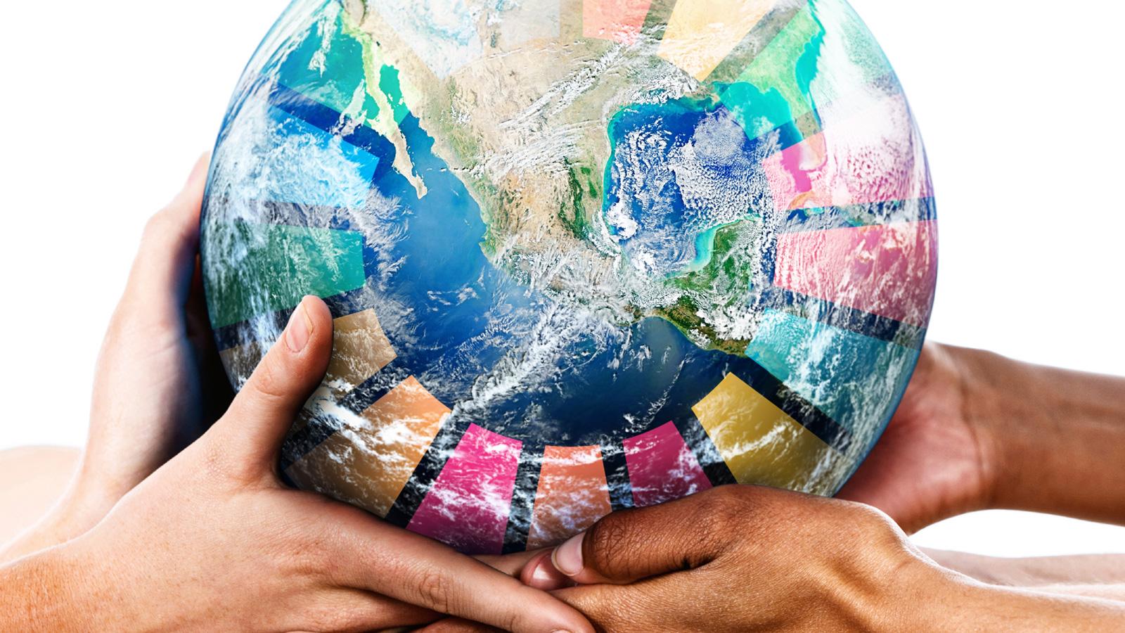 Agenda 2030 glob bars av hander ljus bildskapare egdesign